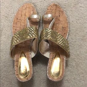Shoes - BRAND NEW GOLD WEDGE SANDALS- shoe